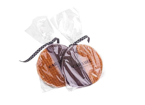 Stroopwaffle con caramelo y bañado en chocolate