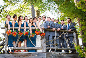 Bridal party in treehouse
