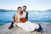 Wedding couple near lake