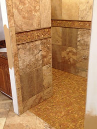 Scabos Porcelain with Desert Tan Pebble Accent