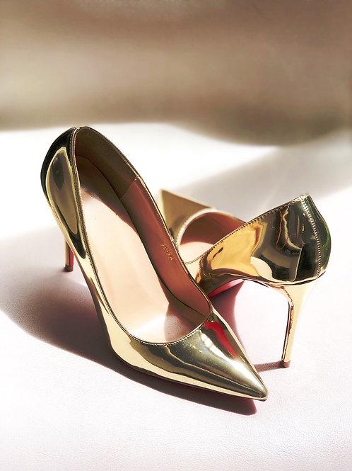 shoe gold metallic