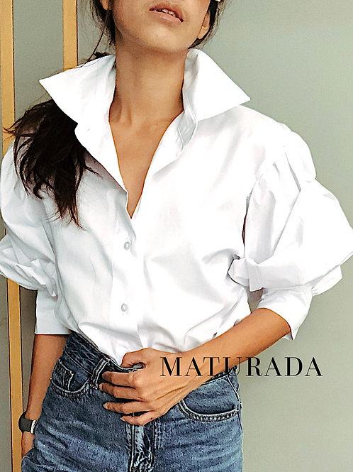 Doll-sleeves shirt  colors : white/black