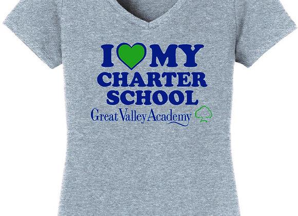 Ladies V-neck - I Love My Charter School T-shirt