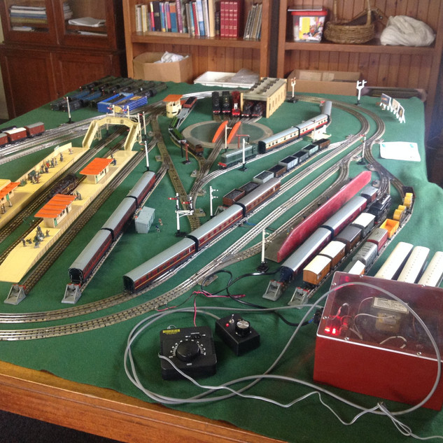 A few pics from yesterdays VMR meeting, theme was A4 locos. Johns layout with his attractive control box, a nicely boxed Trix diesel, a Fox Models B12 Converted in O Gauge and Mark remagnatising various engines.