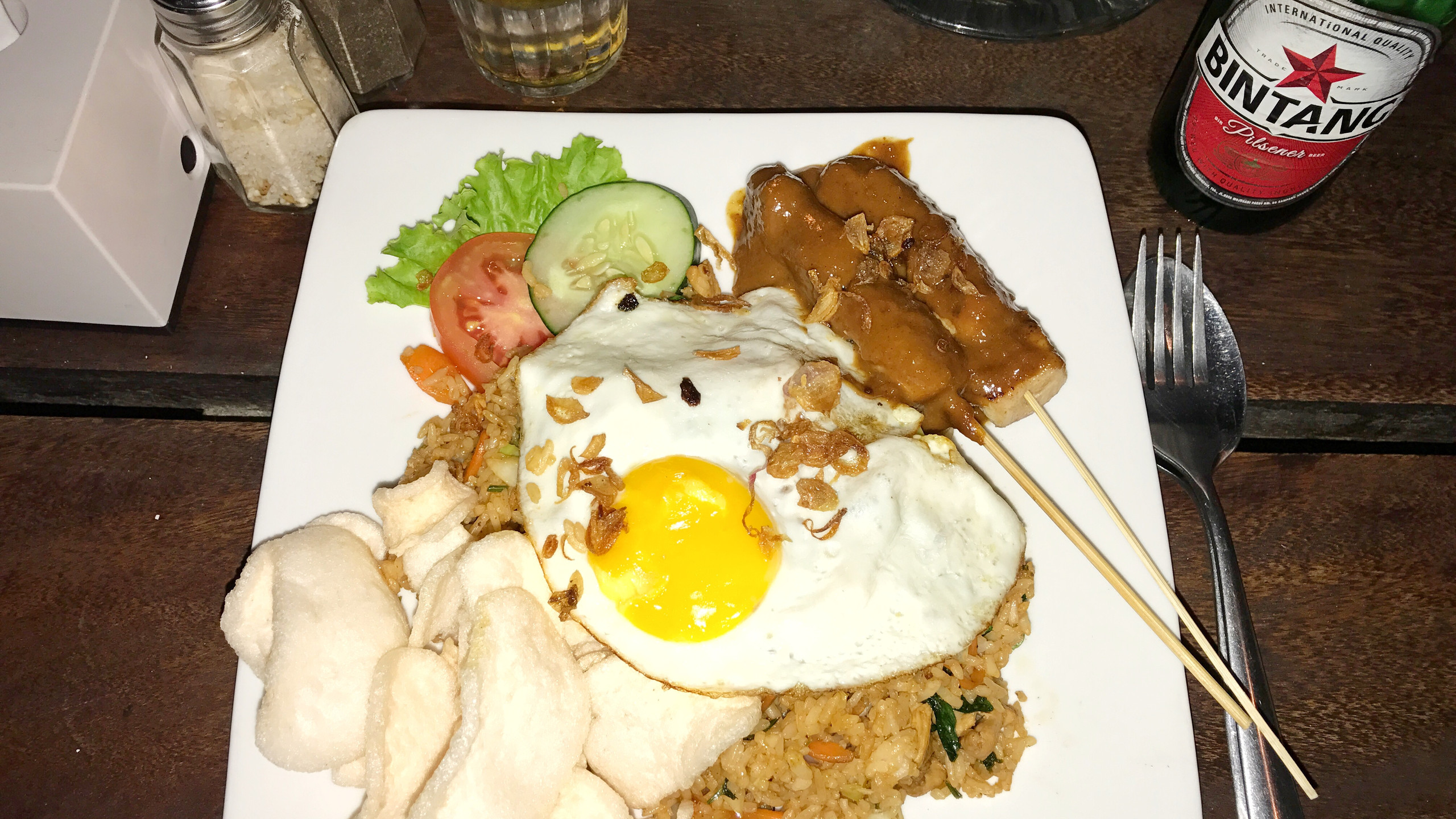 Nasi Goreng is a common dish consisting of stir fried rice, meat and usually an egg!