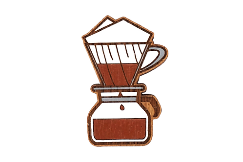 Handmade Wooden Coffee Brooch (V60)