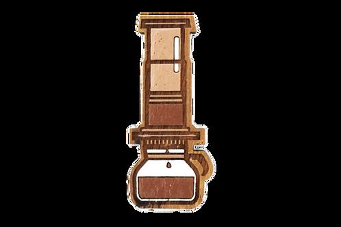 Handmade Wooden Coffee Brooch (Aeropress)