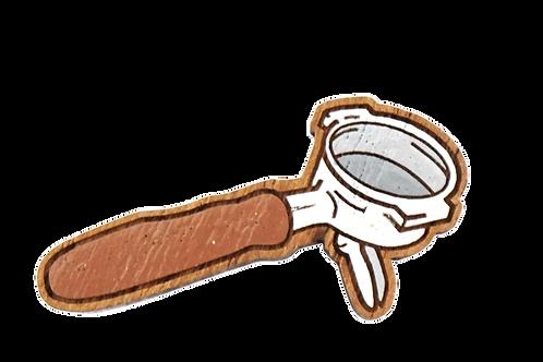 Handmade Wooden Coffee Brooch (Portafilter)