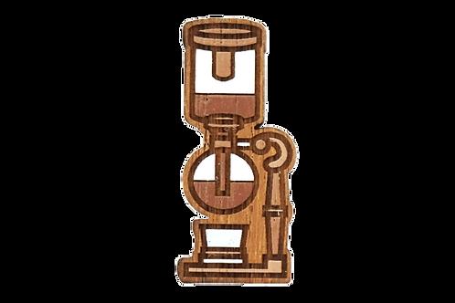 Handmade Wooden Coffee Brooch (Syphon)