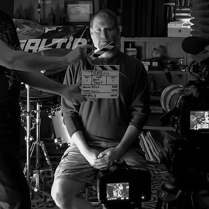 Sean Reinert on the set of Death by Metal documentary