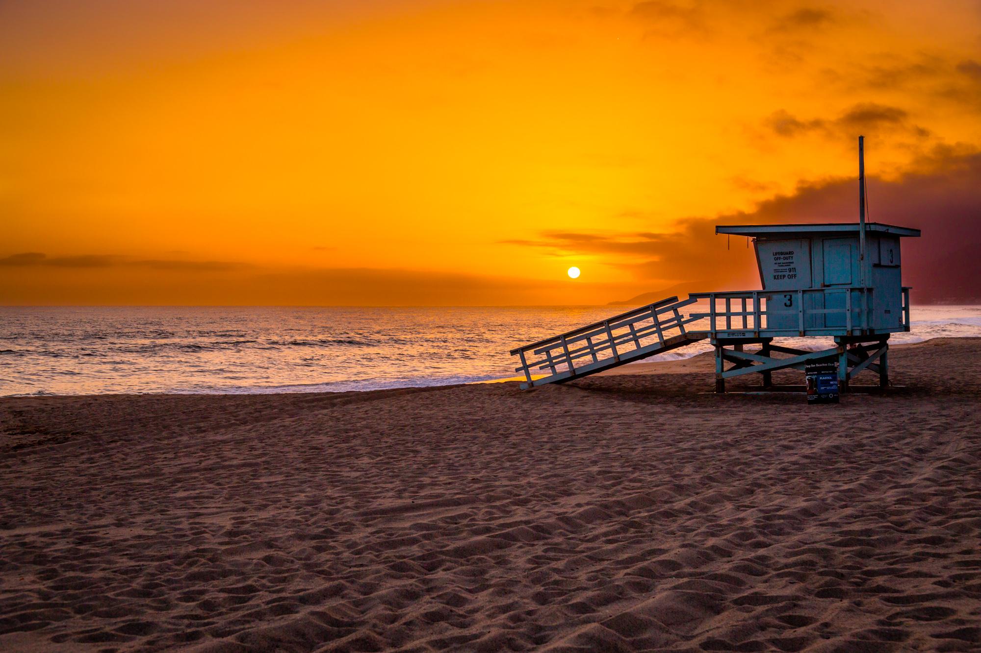 Malibu Lifeguard Tower Sunset-1