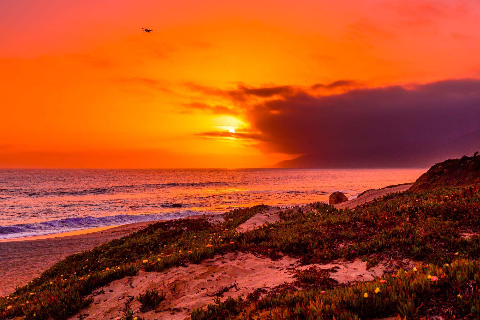 Malibu Plane Sunset-1