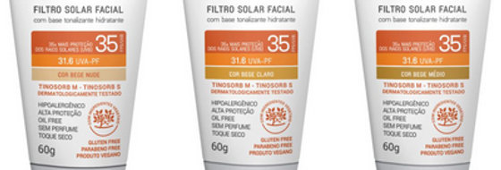 Filtro Solar Facial Hidratante FPS/UVB 35 UVA-PF 31.6 com base tonalizante