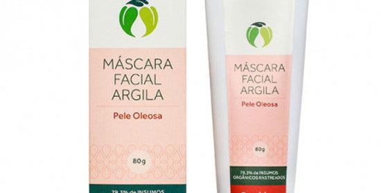 Mascara Limpeza Facial com Argila Pele Oleosa Orgânica Natural Vegana
