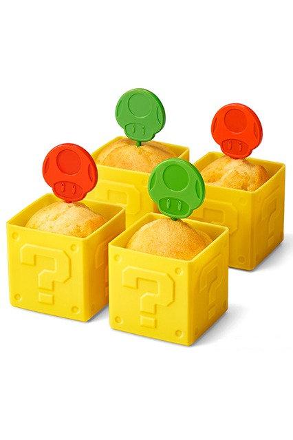 Question Block Coupe à muffins (4) Super Mushroom/1-Up Mushroom Topper (4) lots