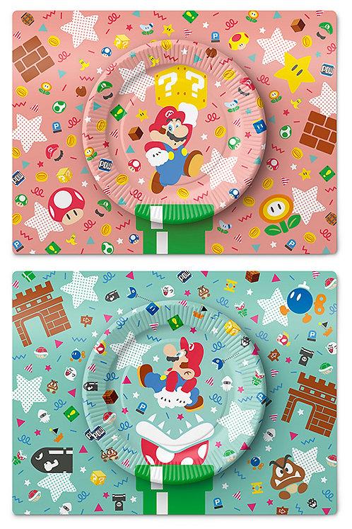 Ensemble d'assiettes en papier personnages Mario (2 x 5)