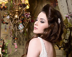 אישה בתסרוקת מלכותית ויפה