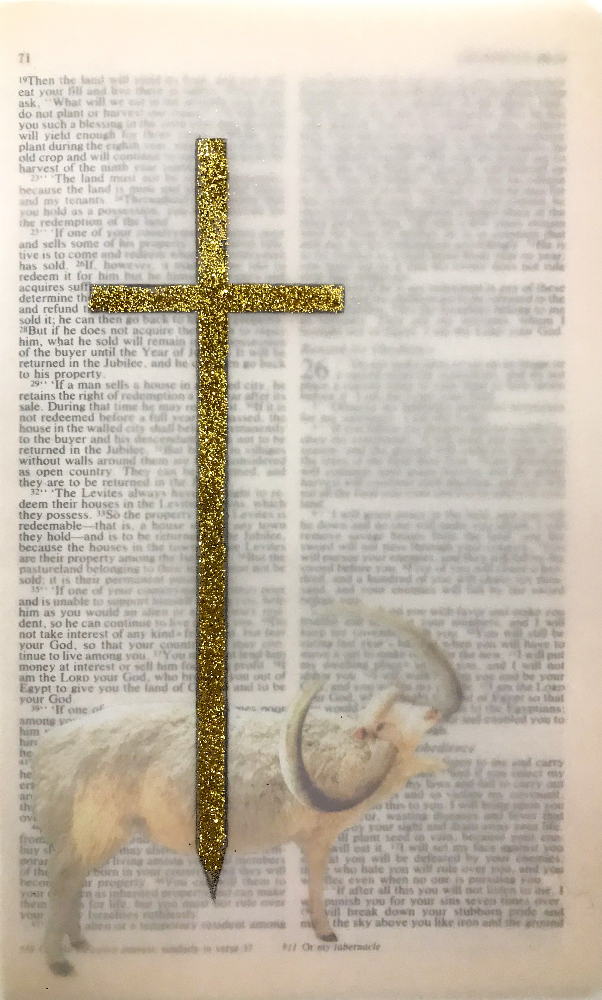 Obedience Collage, Glitter, and Vellum on Bible 2020