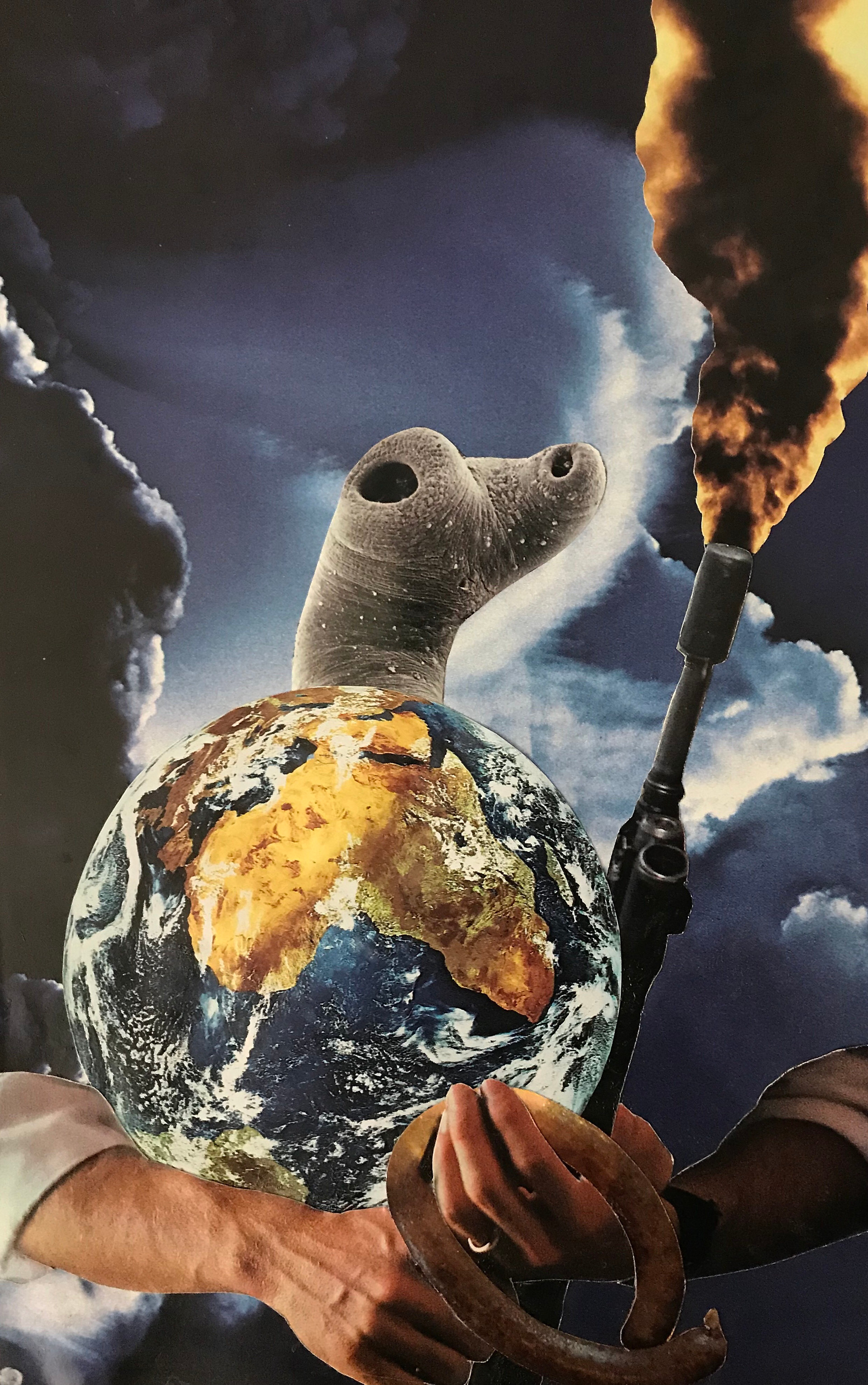 He's Got the Whole World In His Hands Collage on paper 2019