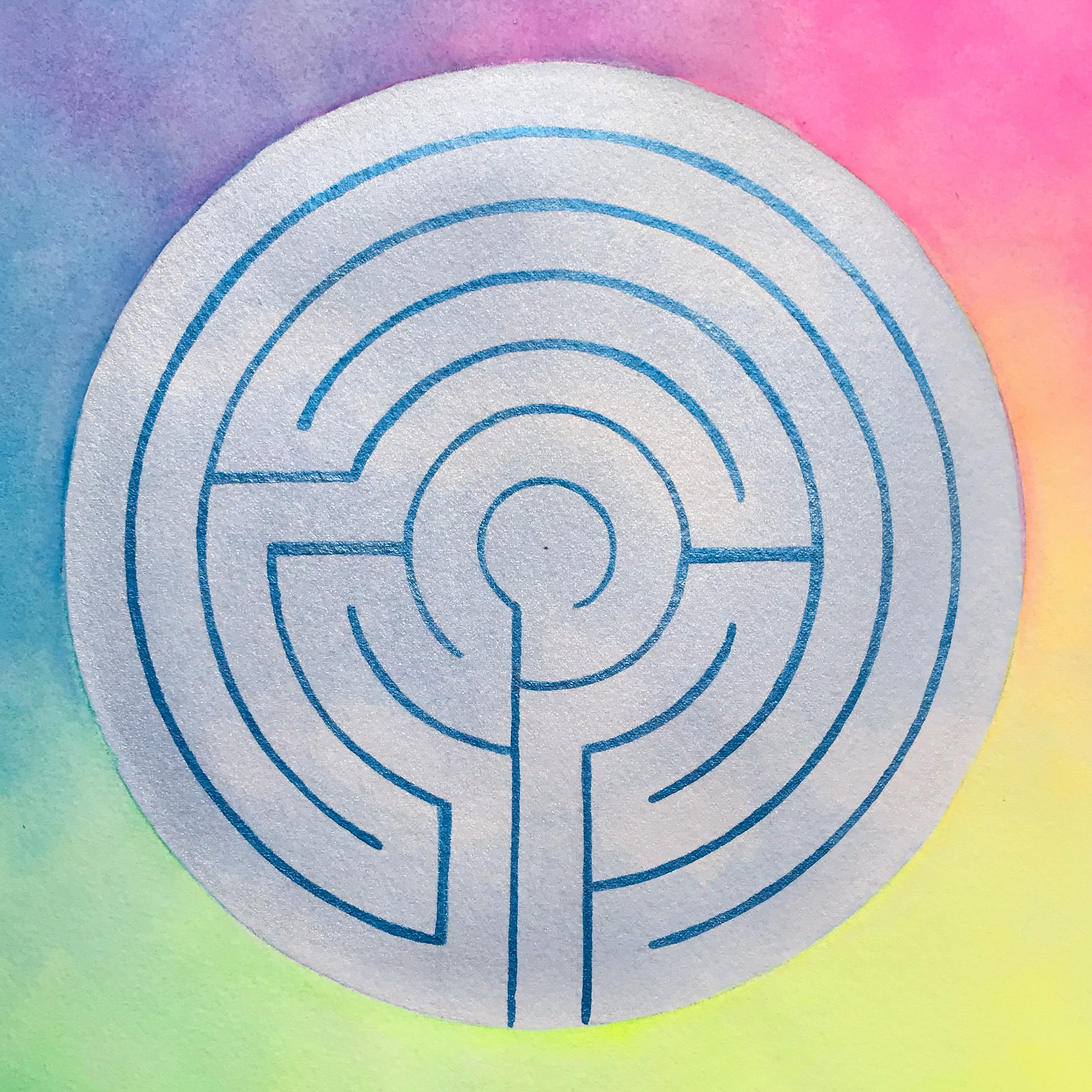 Labyrinth 3 Fluorescent and Iridescent Watercolors 2020