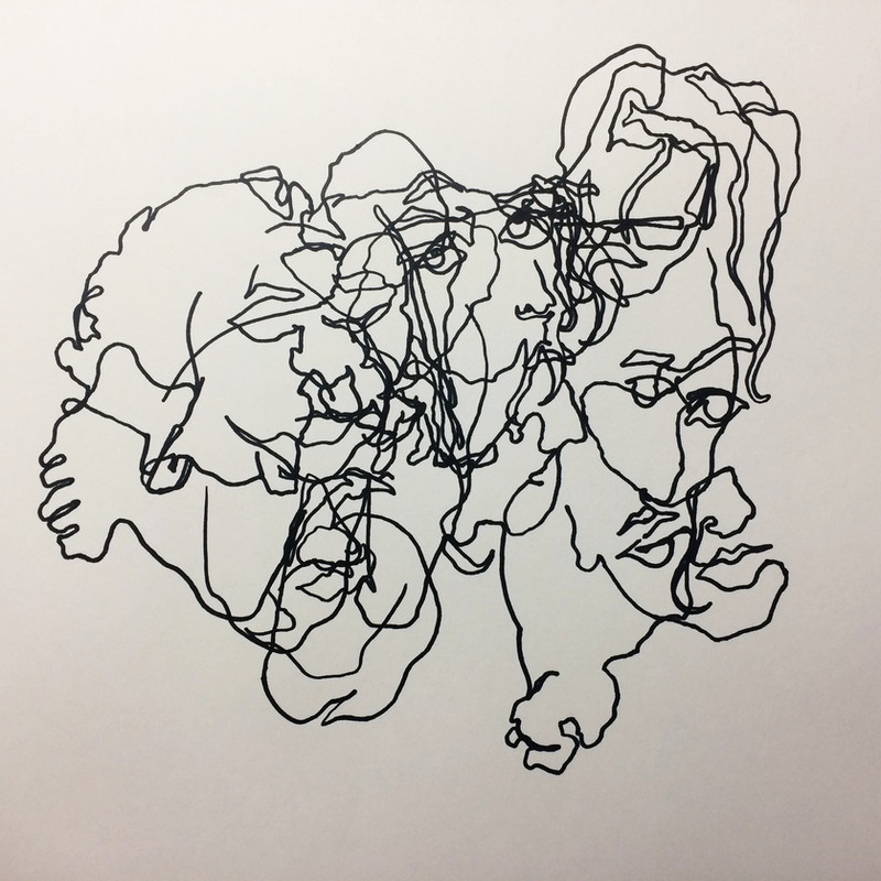 Blind contour drawing of my child in constant motion as a metaphor for parenthood (2) Marker 2018