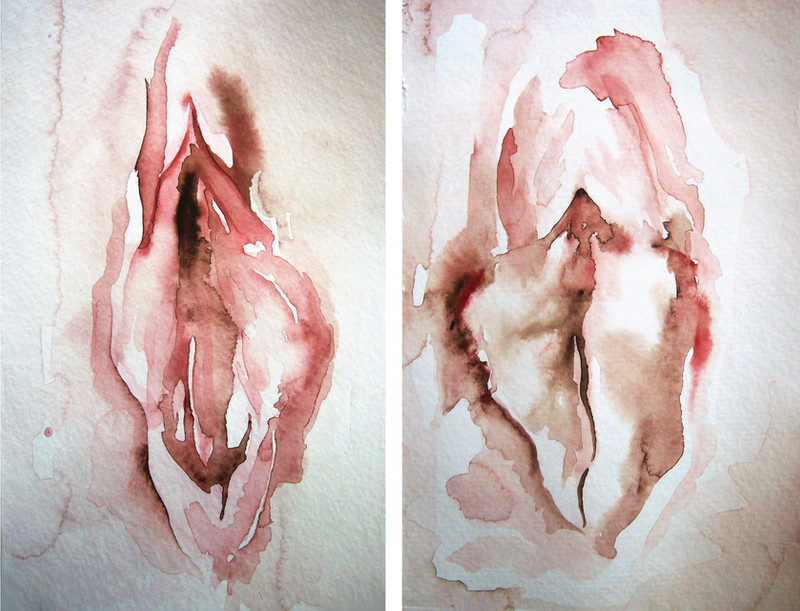 Vulva Study I and Vulva Study II Watercolor 2011