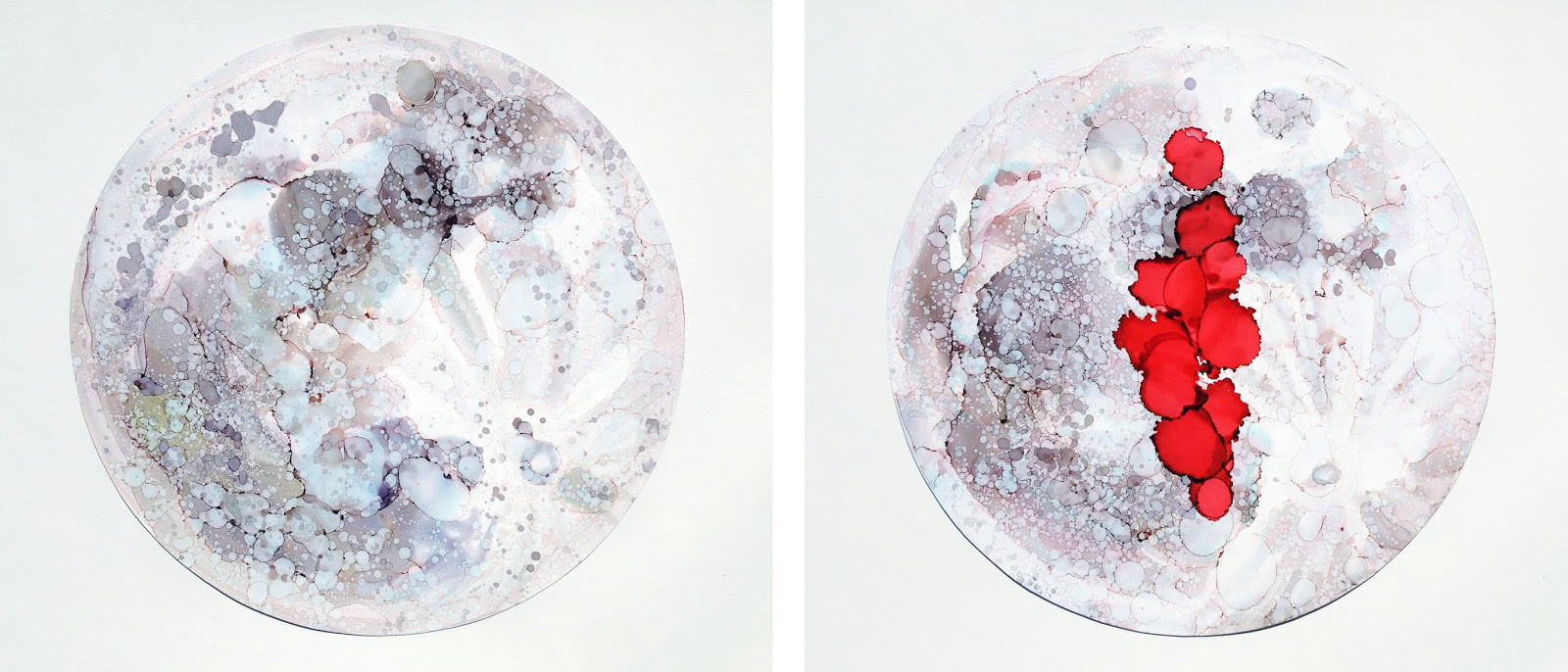 Moon/Time Alcohol Ink on Polypropylene Paper 2016