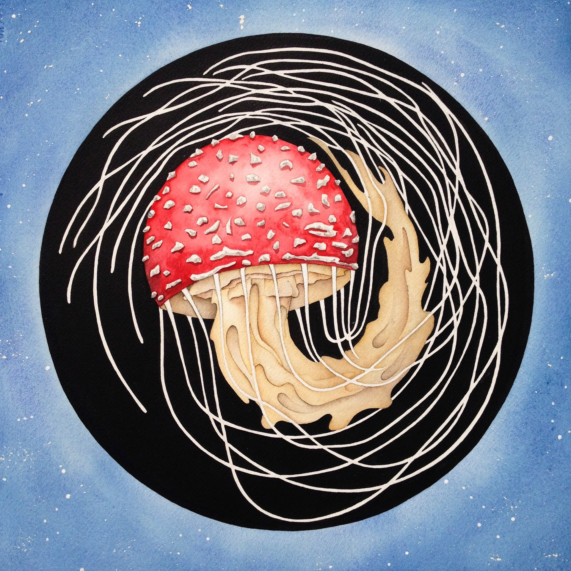 New Moon Amanita Watercolor, India Ink, and Gouache 2015