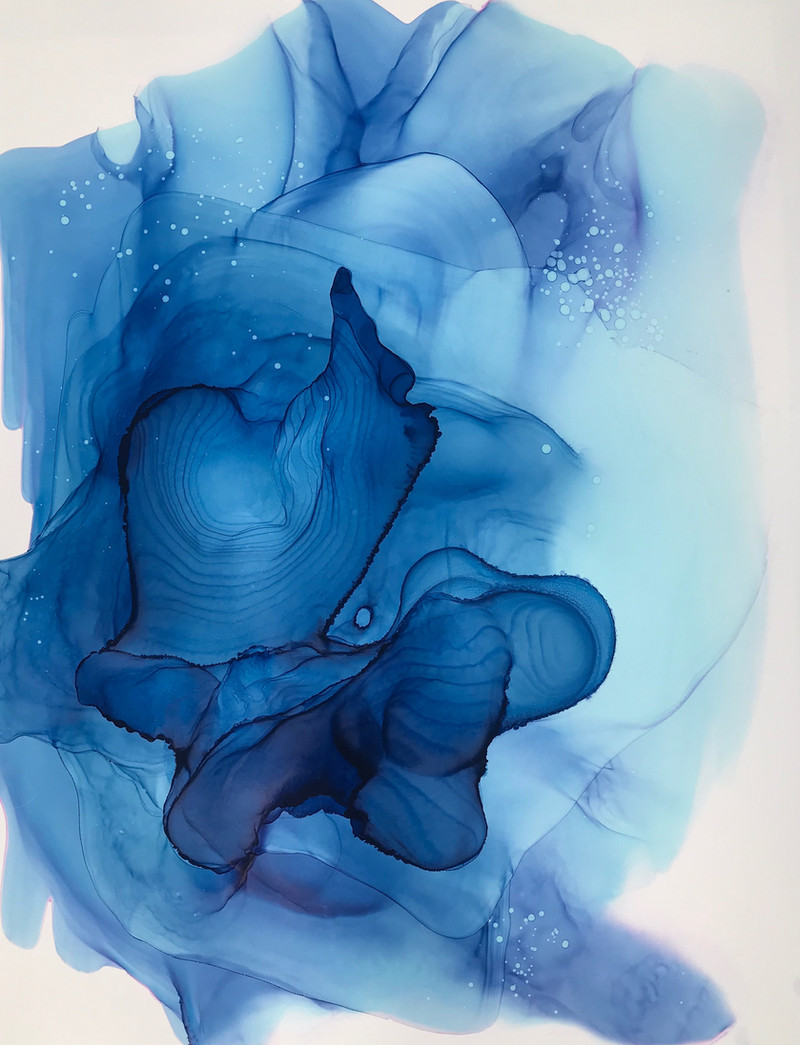 Womb Water 3 Alcohol Ink on Polypropylene Paper 2019