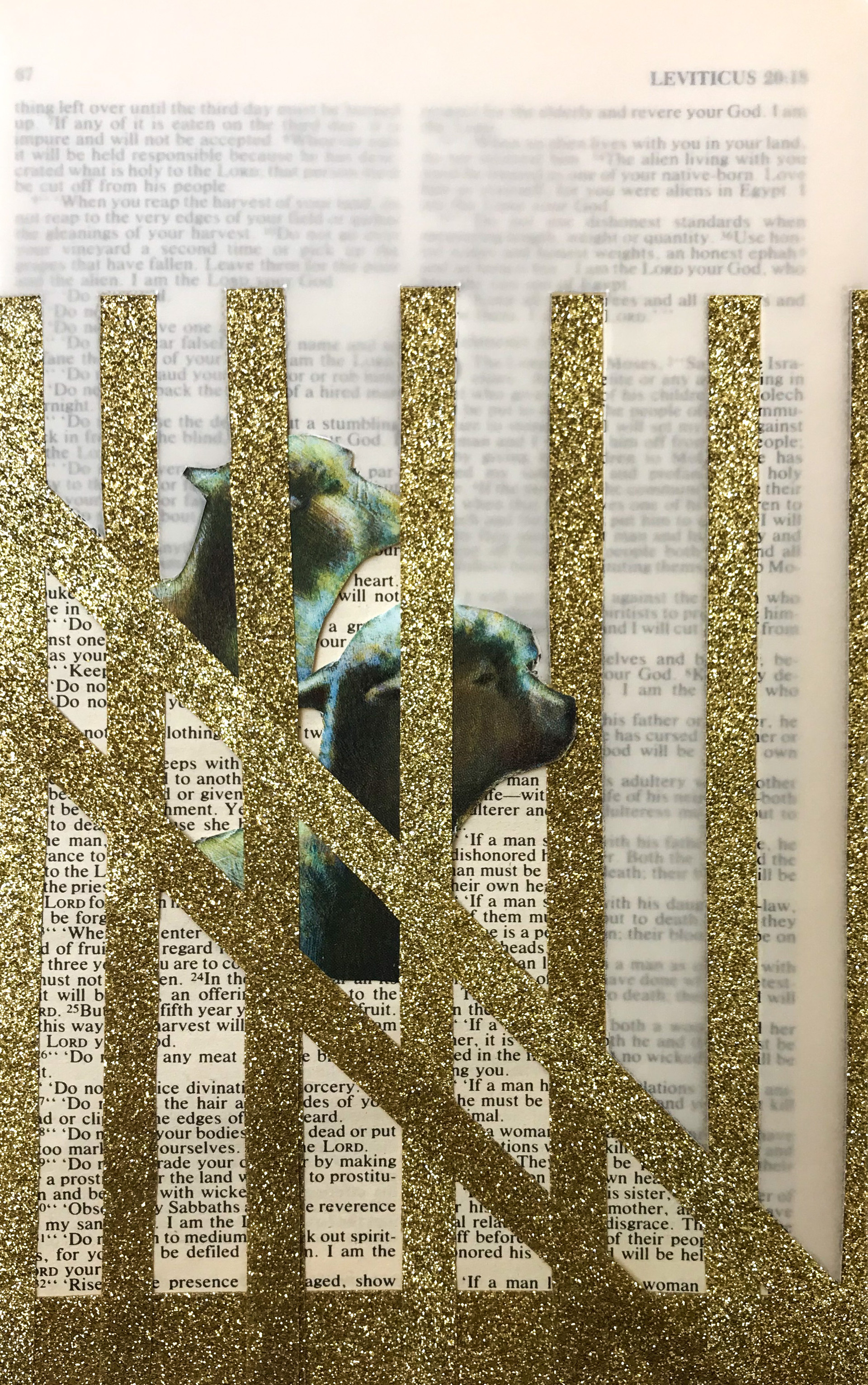 Thinly Veiled Threats Collage and Vellum on Bible 2020