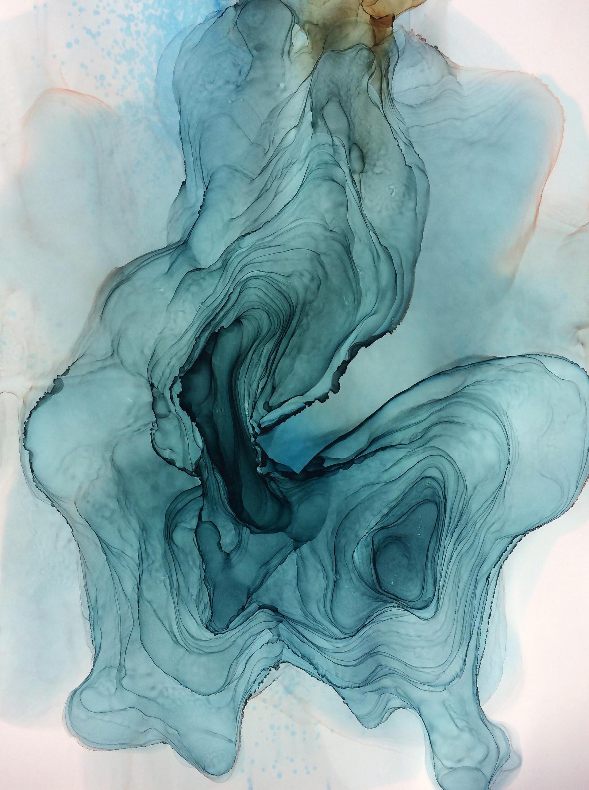 Aqueous 1 Alcohol Ink on Polypropylene Paper 2017