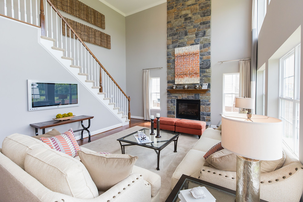 Two story family room with fireplace