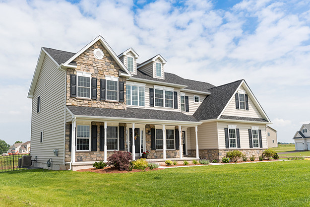 Single family home with stone exterior  I  New Homes in Montgomery County, PA
