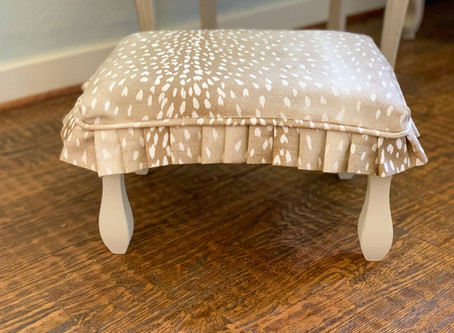 Footstool Makeover With a Slipcover and Paint