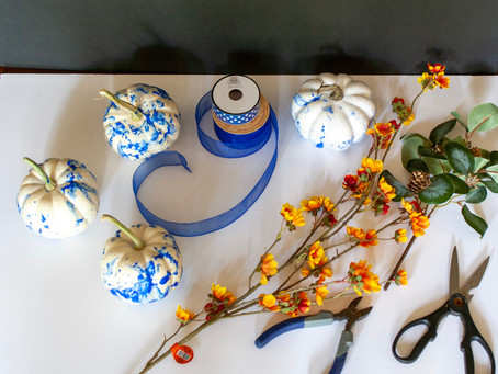 DIY Blue and White Pumpkins