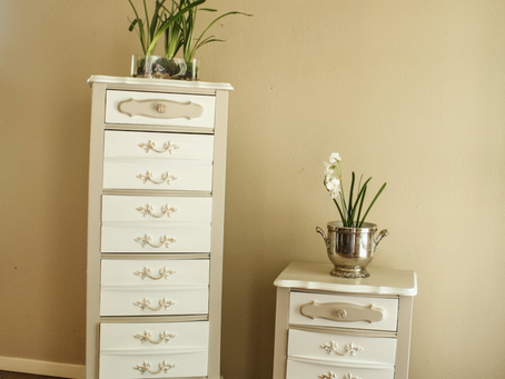 French Lingerie Chest and Nightstand Paint Makeover in Fusion's Cathedral Taupe and Kilz White
