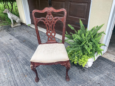 Furniture Makeover | Painting and Recovering an Ornate Chair