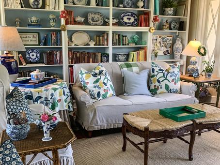 Sunroom Progress:  Bookcase Refresh with Blue Painted Backs