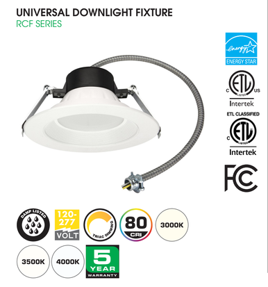 "UNIVERSAL DOWNLIGHT 4"" 9W CCT SELECTABLE"