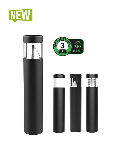 LED Bollards Adjustable Wattage - 9w/13w/18w - Black