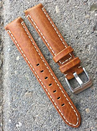 20mm Camel Stitch brown strap