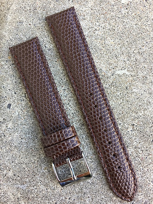 18mm Lizard grain Stitch Brown strap