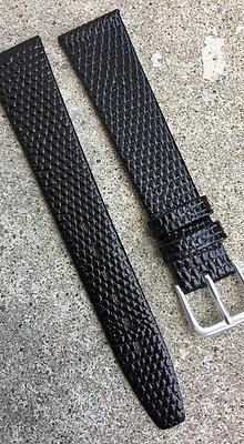 18mm Lizard grain Thin Black strap