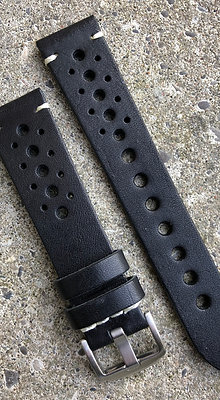 20mm Vintage style leather Black