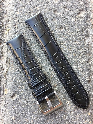 20mm Croco grain Stitch Black strap