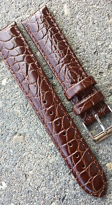 20mm Croco grain Dark brown strap