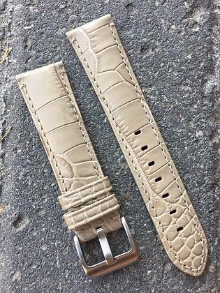 20mm Croco grain Stitch Beige strap