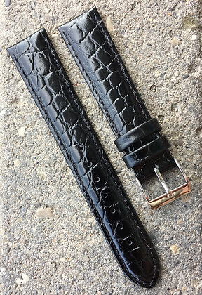 18mm Croco grain Black strap