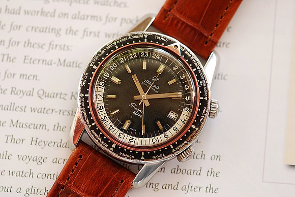 1964 Jumbo Enicar Sherpa Guide GMT Watch