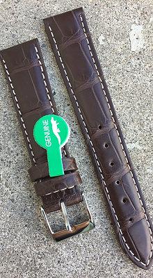 18mm Genuine Alligator Skin Brown strap